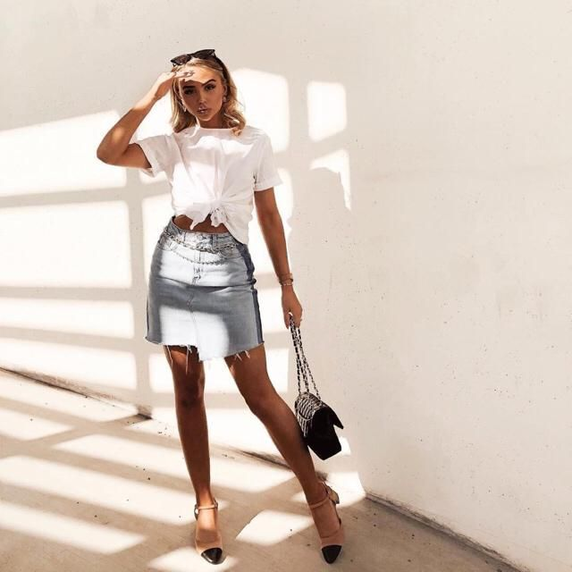This spring is about denim skirt, make sure you own one ayee