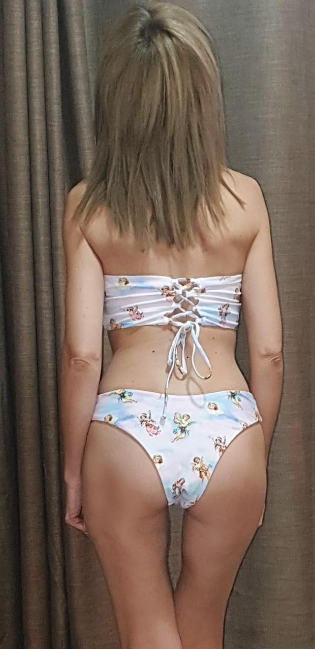Love this cherub bandeau. It&;s so cute. small fits like a glove. top is adjustable, bottoms are cheeky but just right…