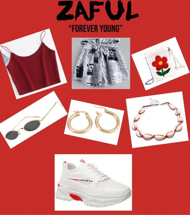 red, white, and black summer outfit