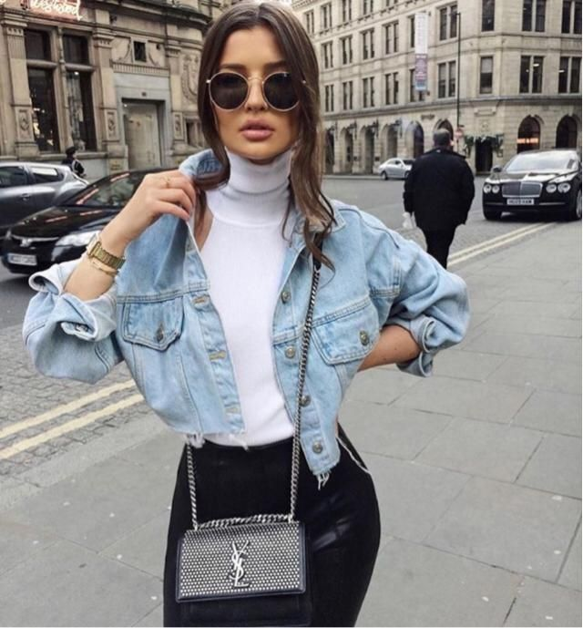 &White      Loving this outfit combination, denim jacket will make your ootd elegant  &white