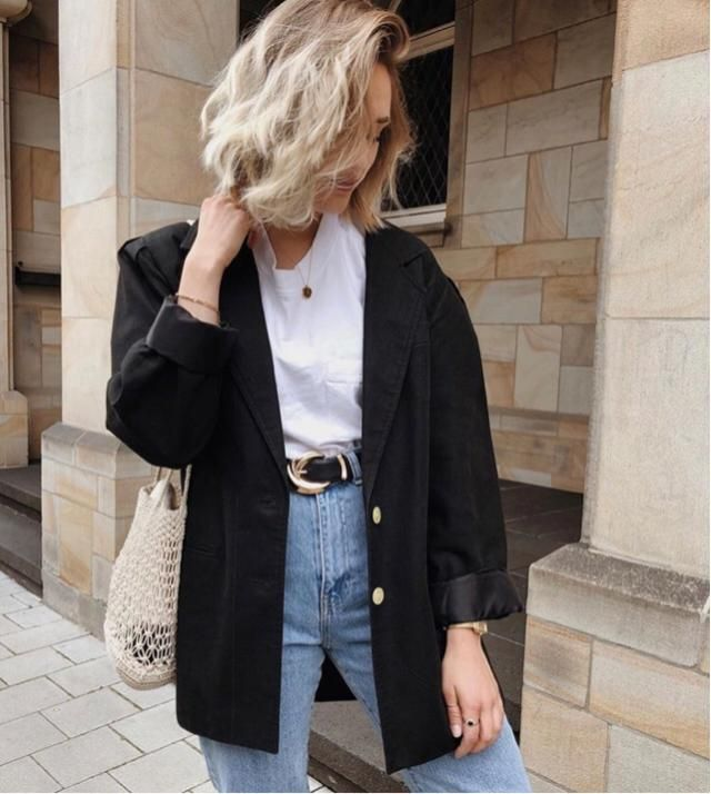 &White      When you only have tshirt and jeans, try to add up a jacket, boom you will look stylish    &whit…