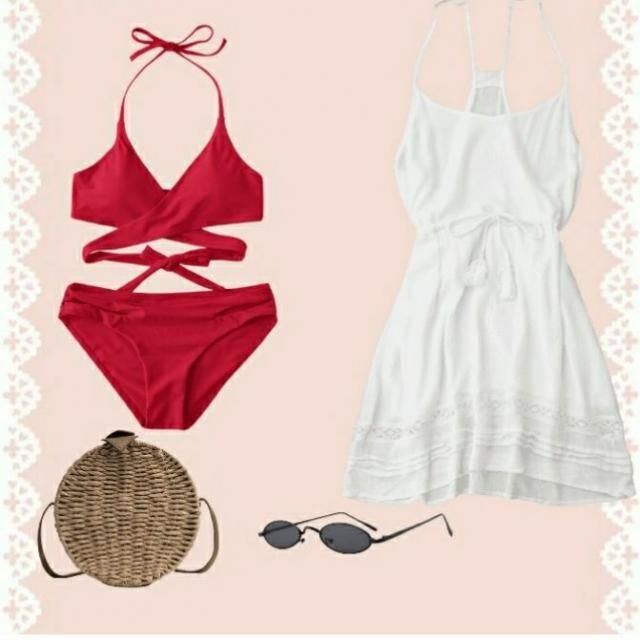red bikini with white cut dress to be just beach party ready.