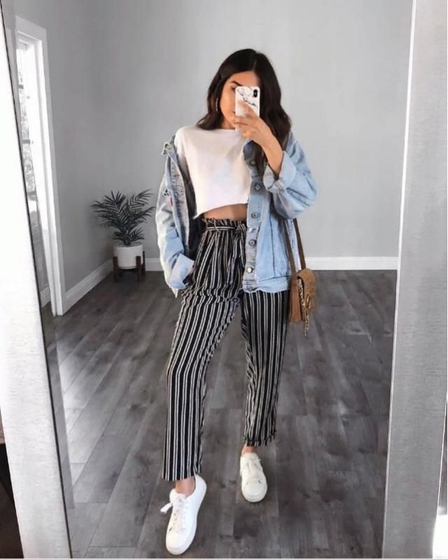 For a casual everyday look try a white top with denim jacket and some cute striped pants