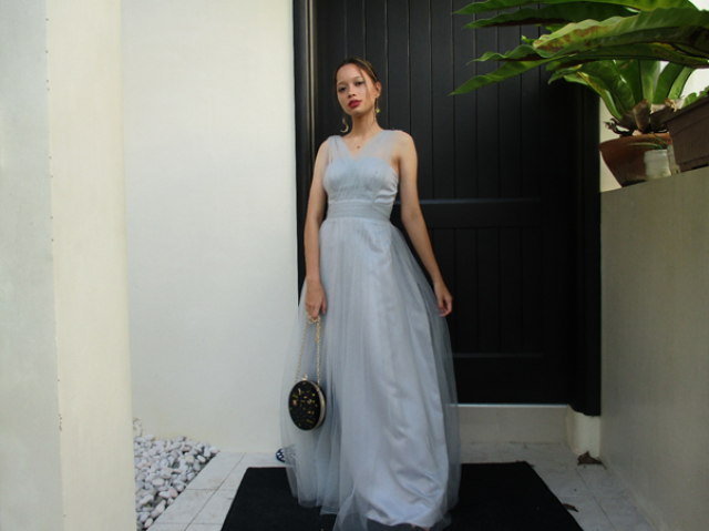 Attended another formal 18th debut wearing a blue gray gown with star and moon themed accessories and bags.