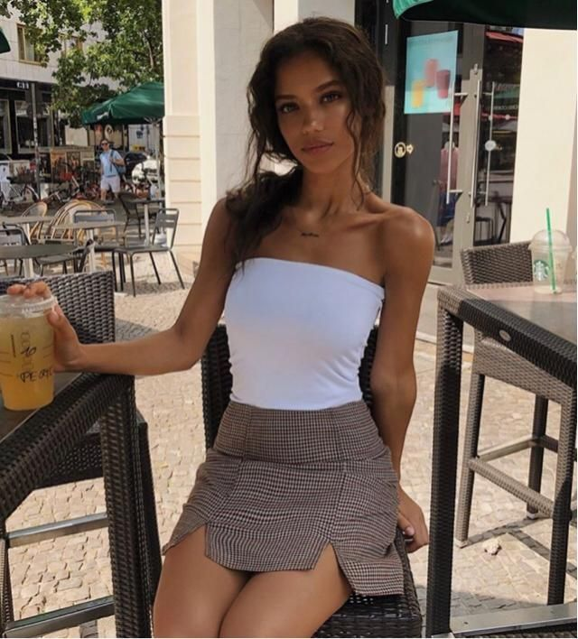 This summer wear less complicated top and just wear tube top and skirt
