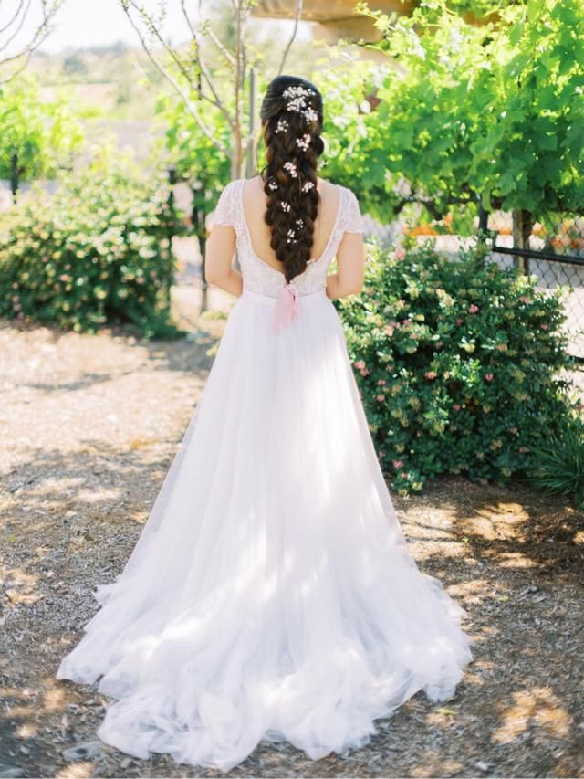 Wedding look!! Love this cap sleeves bodysuit with all the beading details with this maxi tulle skirt! So whimsical…