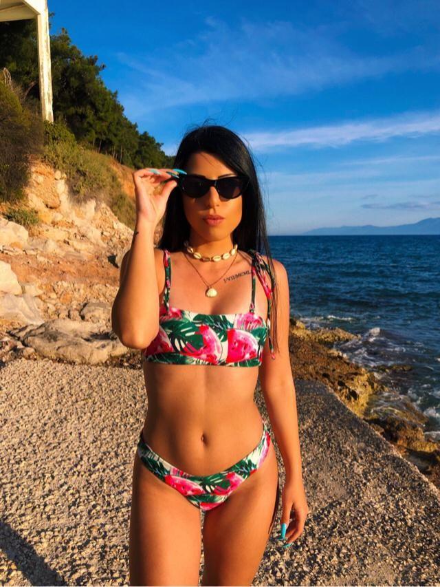 Bikini de Bandeau de Hoja de Sandía Zaful. Me encanta.