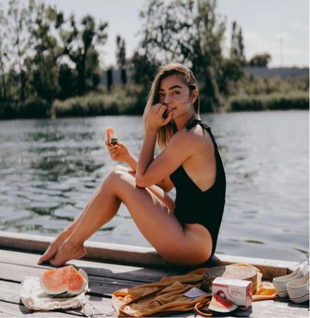 This summer let's grab swimsuit and fruits and chill bu the lake