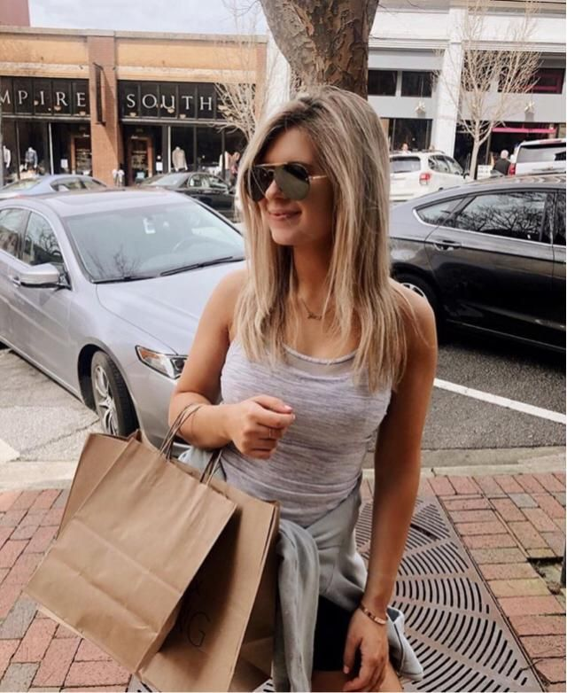 Casual and comfy gray dress for summer shopping! Paired with some super cute shades and a sweater around my waist.…