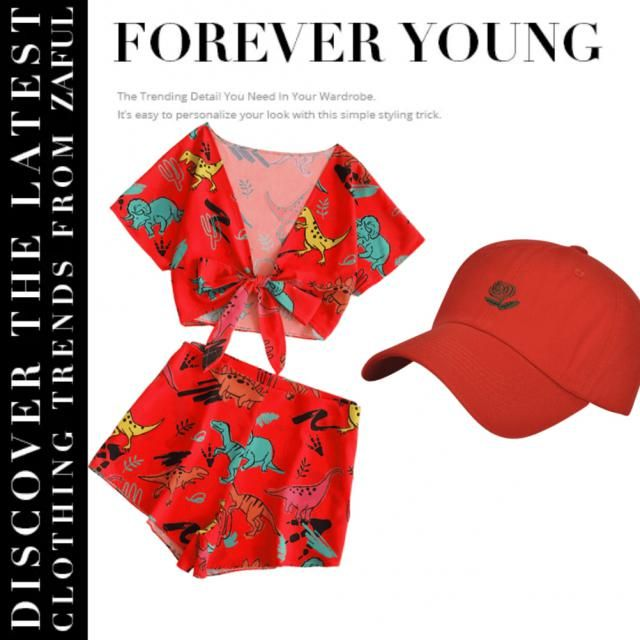 26% OFF] [HOT] 2019 Tie Front Dinosaur Cropped Top And Shorts In