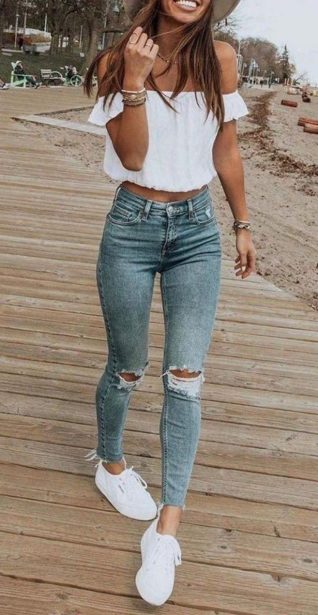 Cute daily outfit. Ribbed jeans and off the shoulder white top, love it! | | |