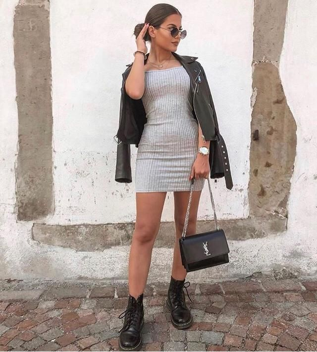 Hanging out in finesse outfit, gorgeous dress combine with cute leather jacket