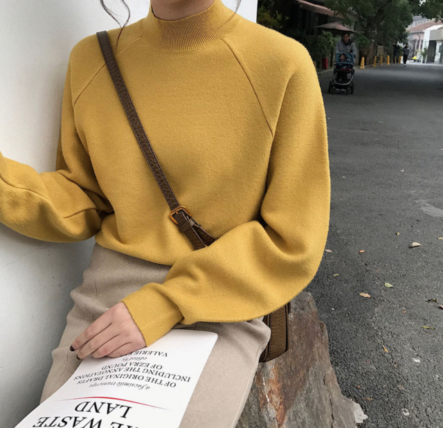 love this yellow turtleneck sweater it is cool