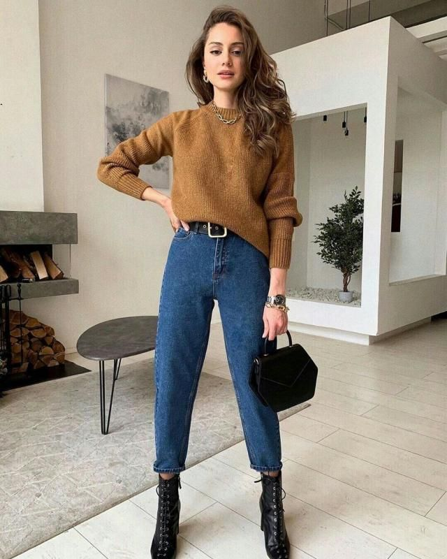sometimes all you need is a simple brown sweater with a comfortable high waisted jeans