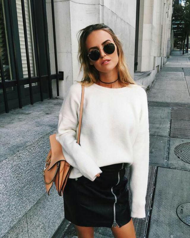 fresh and stylish white sweater with faux leather skirt and cute sunglasses