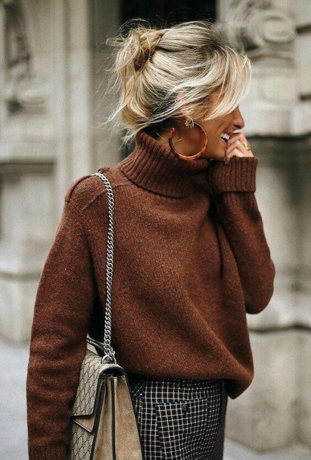 this brown turtleneck sweater is so pretty I love it so much