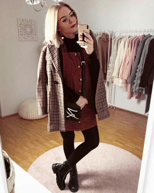 keep it cool, bright and sweet with a corduroy overall dress with plaid coat