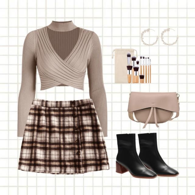 Fall outfit with plaid.