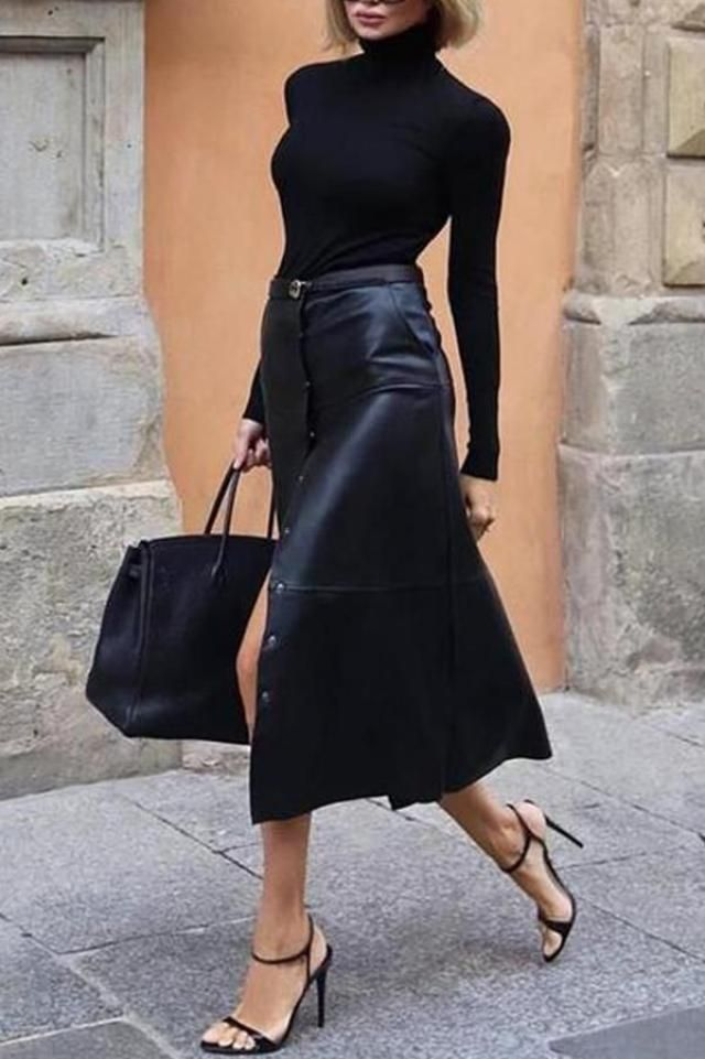 If the occasion calls for a classy yet cool outfit, you can wear a turtleneck and a leather skirt. | | |