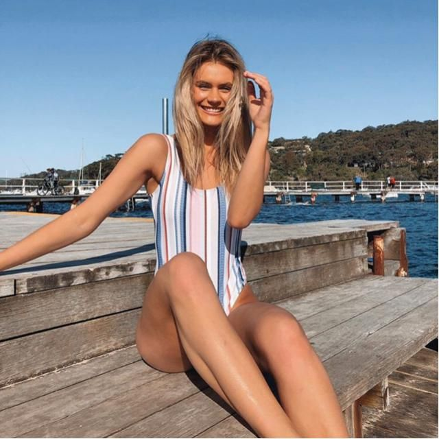 Striped swimsuit is good for summer holiday at the beach