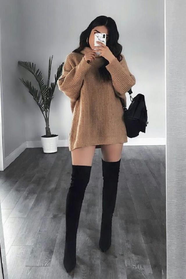 beautiful turtleneck sweater dress