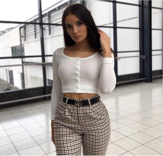 Plaid pants is classic but fabulous too, will match with every outfit