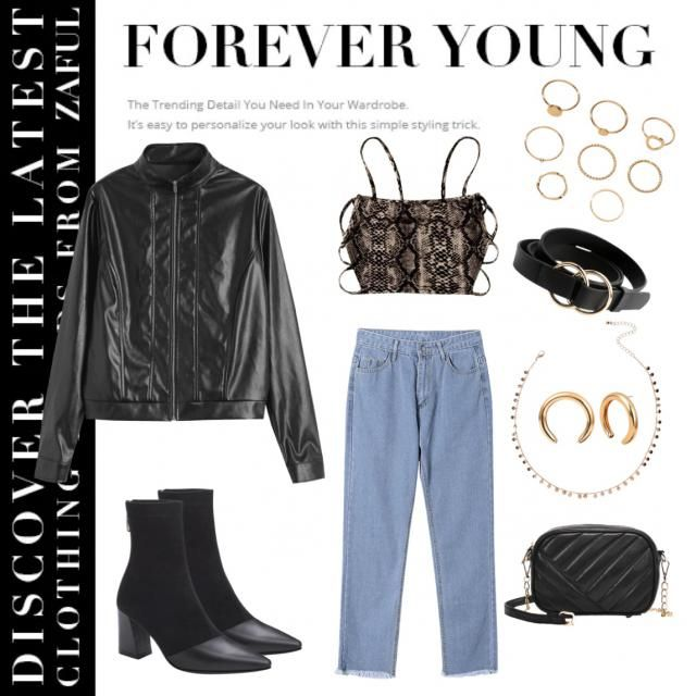 Sssstylish snake print cut out crop and light wash denim jeans paired with a leather jacket, gold jewelry and leath…