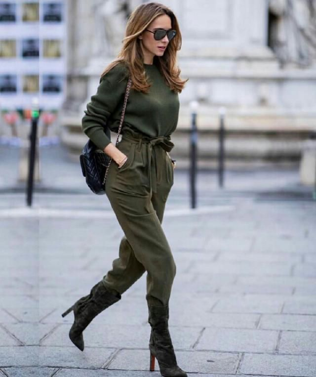 green sweater with army green pants look so fancy