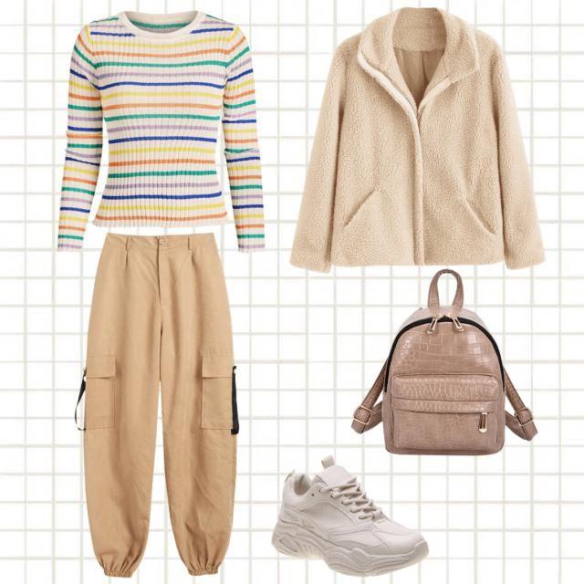 Basic university clothes. Comfortable.