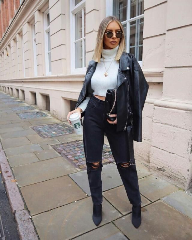 for a casual chic day out with friends throw your leather jacket over a white turtleneck sweater with ripped jeans…
