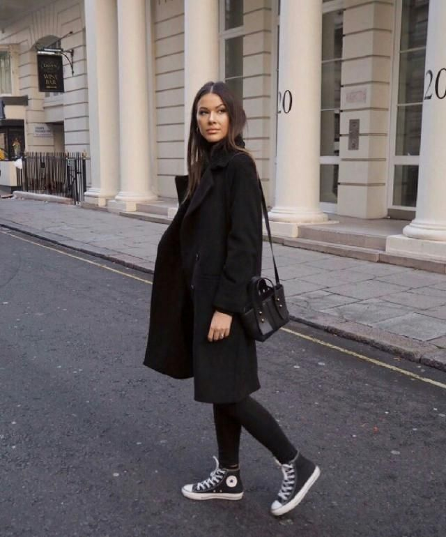 for a smart elegant look try this long black coat, it can makes any outfit look more stunning