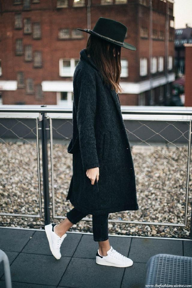 If you own a black jeans then pull out a black coat from your wardrobe and wear with your white sneakers | | |     …