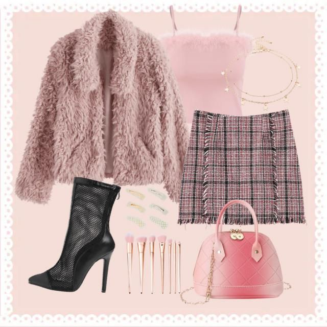 An all pink look ft a gorgeous fluffy jacket