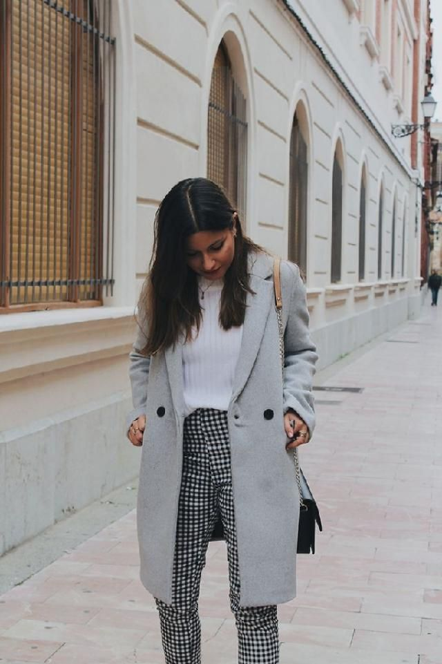 To achieve a laid-back look with a clear fashion twist, consider teaming a gray coat with gingham pants. | | |