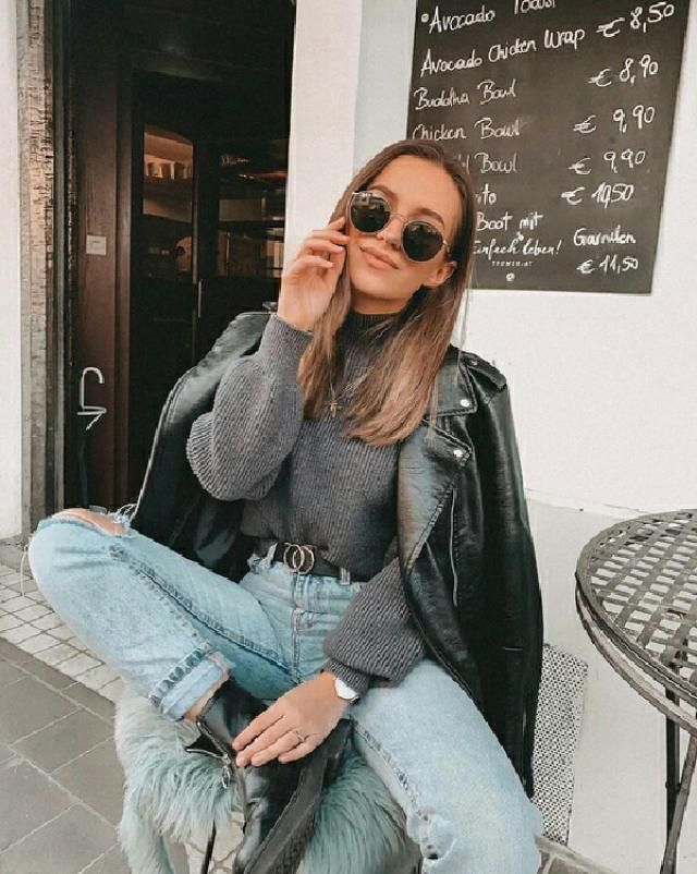 for a simple casual chic outfit, get this grey turtleneck sweater with faux leather jacket and ripped jeans       …