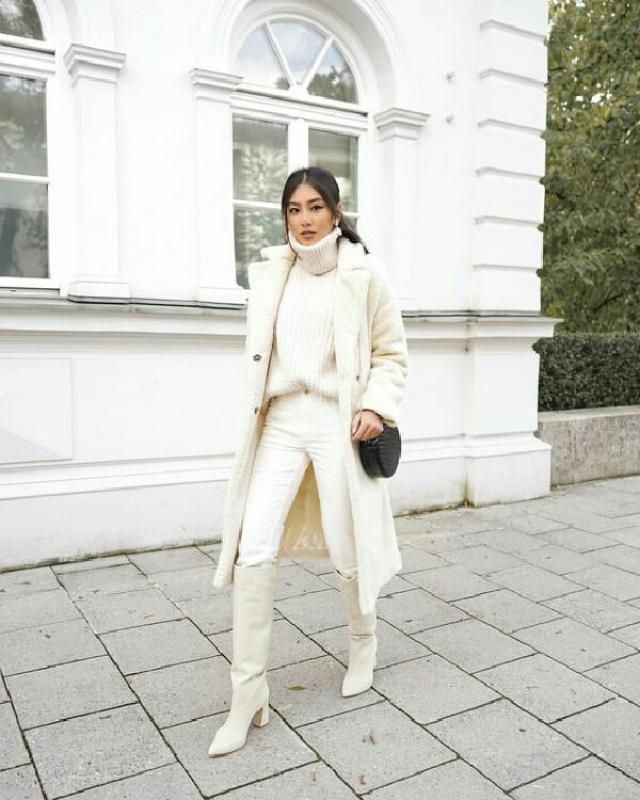 all white outfit is very unique and fancy
