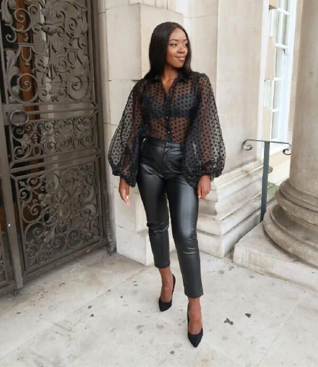 Omg!! she looks stunning in this sher blouse and leather pants