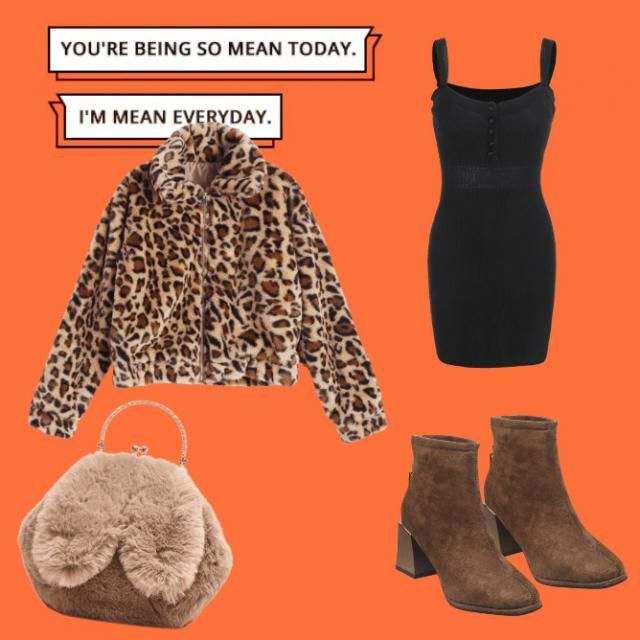 Black dress, short boots, jacket with animal print and fluffy bag.