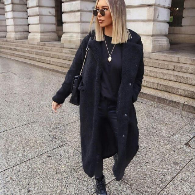 black faux fur coat is so elegant