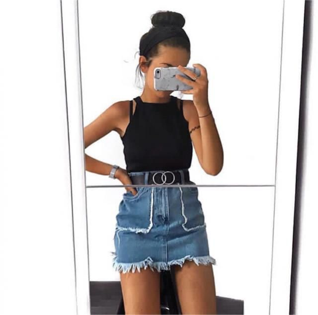 one of the cutest denim skirt I own x
