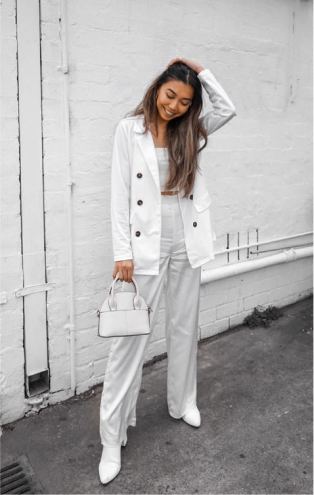Full white power suit styled with Zaful lapel blazer — can be worn with biker shorts and Air Force 1s for more casual…