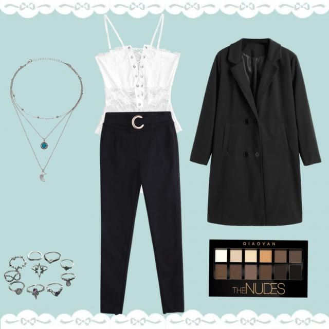 a lace top with enough detail then to pair with some plain black trousers and a black coat. then finish off with nude e…