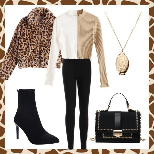 A chic cold weather outfit. I used an unique half and half coloured jumper to draw attention to the outfit and then a s…