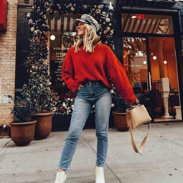 Keep it simple and cute with this beautiful red sweater with skinny jeans