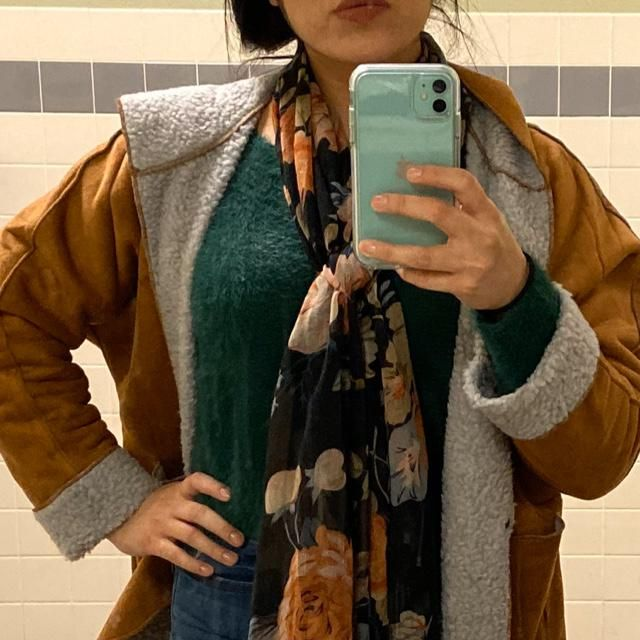 Green sweater is super soft and comfy and a bit of a crop top, so perfect with high waisted jeans. The teddy is a bit s…