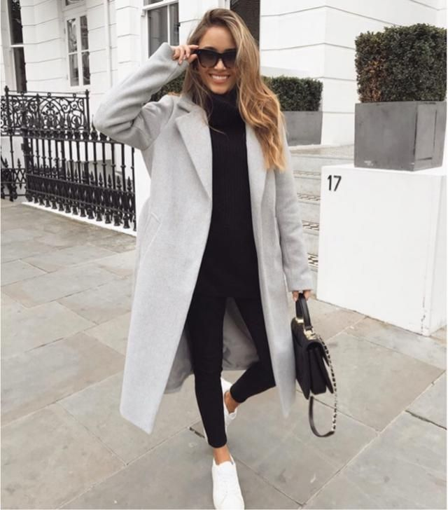Gray coat will match your black outfit