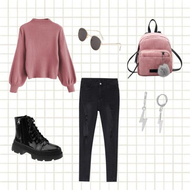 Pink casual winter look