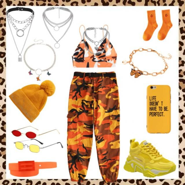 Orange yelow red outfit