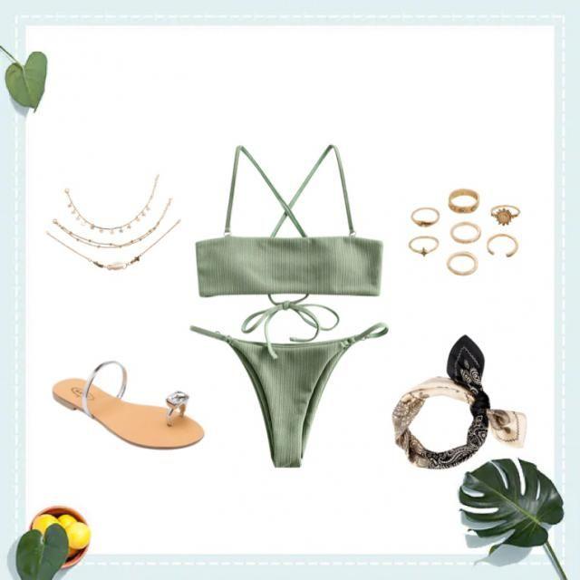 Green bikini, rings, gold necklace, flats and bandana.