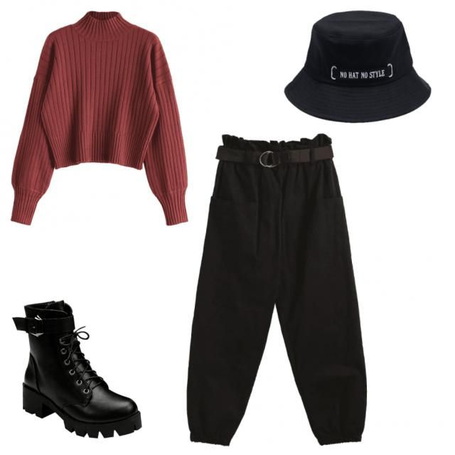 Edgy from the shoes with a bit of elegance from the sweater